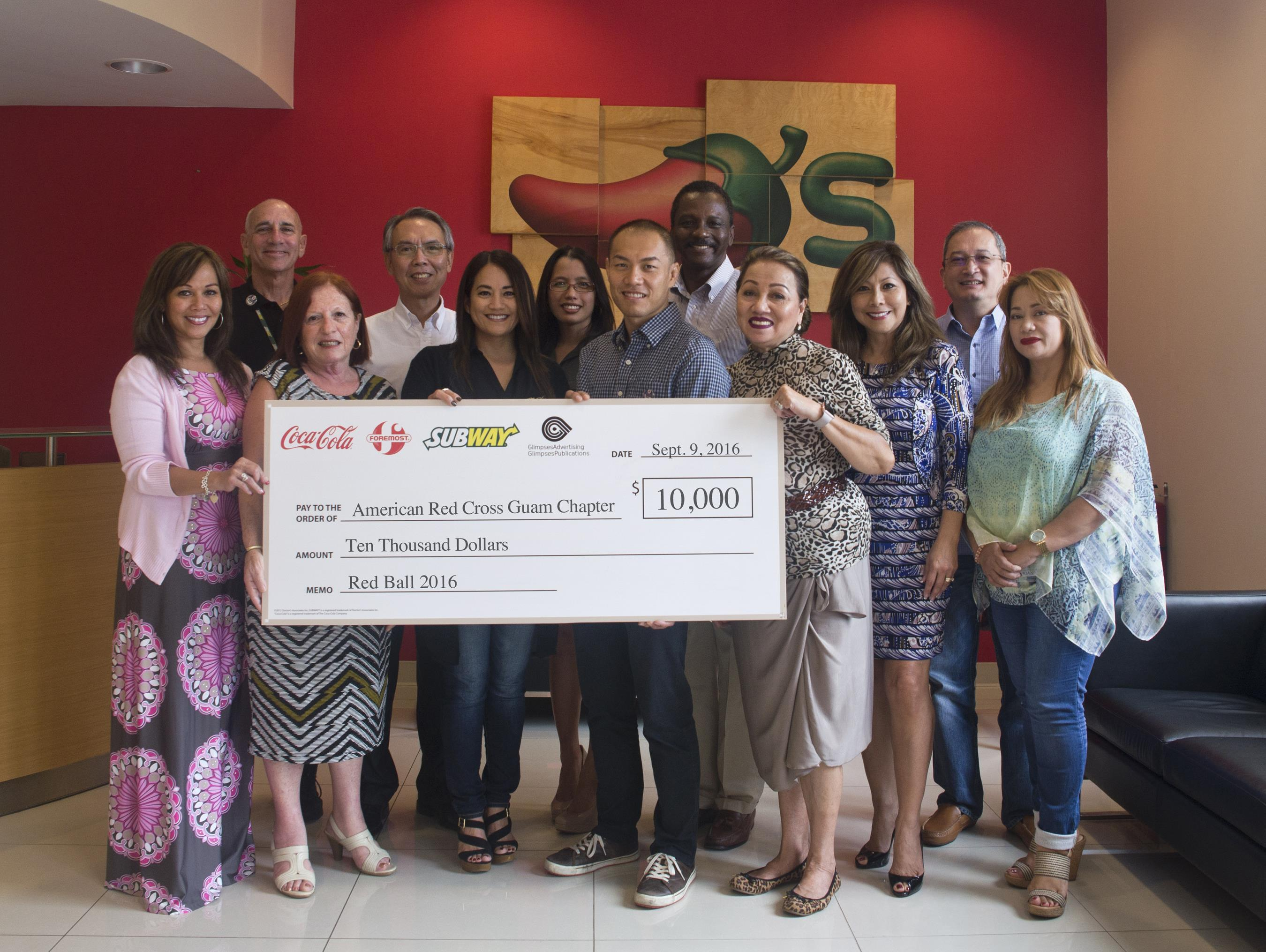 (L-R: Caroline Sablan, Board Member, ARC Guam Chapter; Gary Schiff, director of brand management, Subway Restaurants of Guam, Saipan and AAFES and NEXCOM Japan; Maureen N. Maratita, publisher, Glimpses Publications; Ernest Mak, director of operations, Foremost Foods Inc. and Coca-Cola Beverage Co. (Guam); Monica Duenas, Board Member, ARC Guam Chapter; Sharleen Marchesseault, director of agency services, Glimpses Advertising; Marcos W. Fong, group executive vice president, Foremost Foods Inc., Coca-Cola Beverage Co. (Guam), Glimpses of Guam Inc. and Nakicos Corp.; Karvin Flynn, Board Treasurer, ARC Guam Chapter; Chita A. Blaise, CEO, ARC Guam Chapter; Lucy Alcorn, Board Member, ARC Guam Chapter; Ed Ilao, Board Member, ARC Guam Chapter; and Margie Nicolas Training Program Coordinator, ARC Guam Chapter.